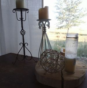 Other - Teal and white candle holder